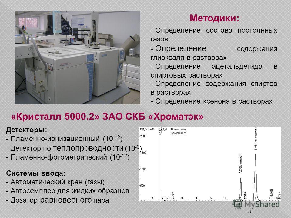 8 «Кристалл 5000.2» ЗАО СКБ «Хроматэк» Детекторы: - Пламенно-ионизационный (10 -12 ) - Детектор по теплопроводности (10 -9 ) - Пламенно-фотометрический (10 -12 ) Системы ввода: - Автоматический кран (газы) - Автосемплер для жидких образцов - Дозатор