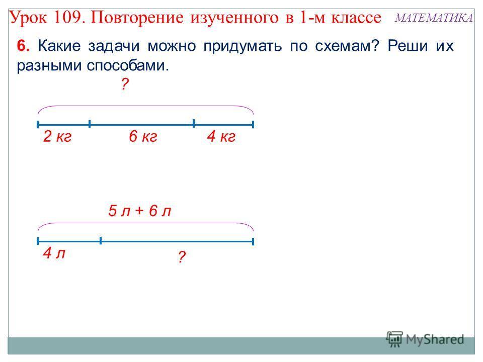 6. Какие задачи можно придумать по схемам? Реши их разными способами. 2 кг6 кг4 кг ? 4 л 5 л + 6 л ? Урок 109. Повторение изученного в 1-м классе МАТЕМАТИКА