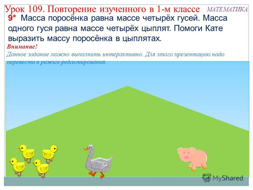 Внимание! Данное задание можно выполнить интерактивно. Для этого презентацию надо перевести в режим редактирования. 9* Масса поросёнка равна массе четырёх гусей. Масса одного гуся равна массе четырёх цыплят. Помоги Кате выразить массу поросёнка в цып