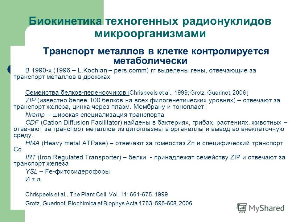 Биокинетика техногенных радионуклидов микроорганизмами Транспорт металлов в клетке контролируется метаболически В 1990-х (1996 – L.Kochian – pers.comm) гг выделены гены, отвечающие за транспорт металлов в дрожжах Семейства белков-переносчиков [ Сhris