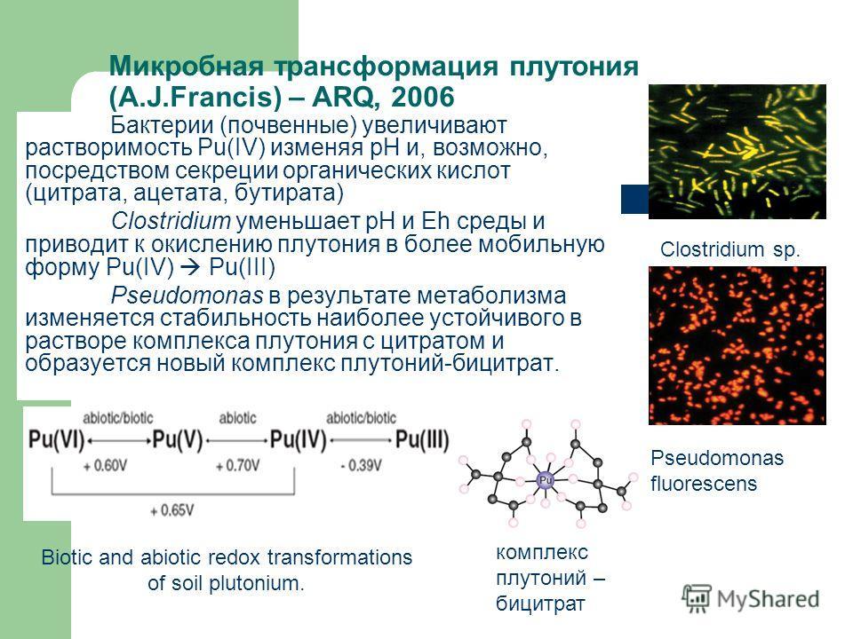 Микробная трансформация плутония (A.J.Francis) – ARQ, 2006 Бактерии (почвенные) увеличивают растворимость Pu(IV) изменяя рН и, возможно, посредством секреции органических кислот (цитрата, ацетата, бутирата) Clostridium уменьшает рН и Eh среды и приво