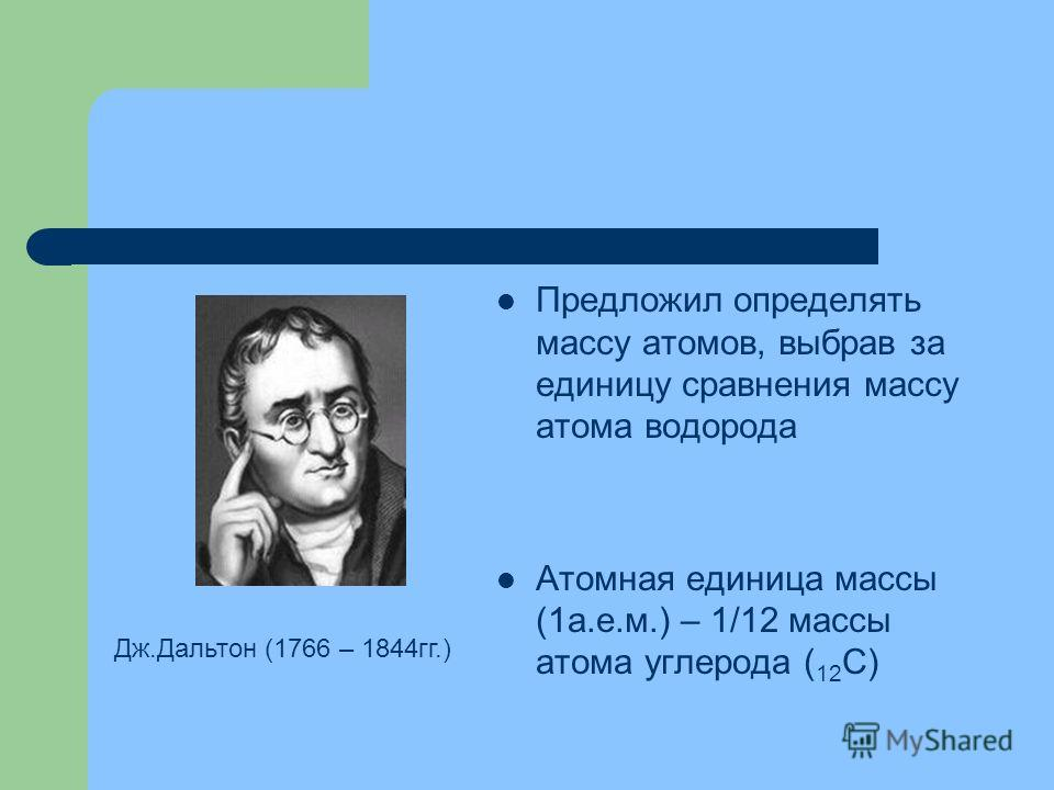 Предложил определять массу атомов, выбрав за единицу сравнения массу атома водорода Атомная единица массы (1а.е.м.) – 1/12 массы атома углерода ( 12 С) Дж.Дальтон (1766 – 1844гг.)