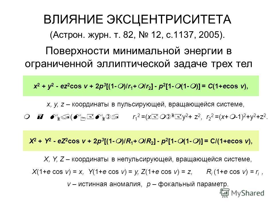 ВЛИЯНИЕ ЭКСЦЕНТРИСИТЕТА (Астрон. журн. т. 82, 12, с.1137, 2005). Поверхности минимальной энергии в ограниченной эллиптической задаче трех тел x, y, z – координаты в пульсирующей, вращающейся системе, m = M 2 /(M 1 +M 2 ), r 1 2 =(x+m) 2 +y 2 + z 2, r
