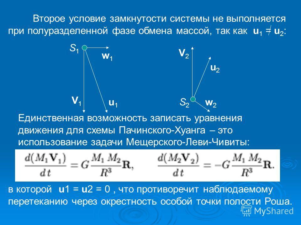 Второе условие замкнутости системы не выполняется при полуразделенной фазе обмена массой, так как u 1 = u 2 : V1V1 u1u1 w1w1 S1S1 S2S2 u2u2 V2V2 w2w2 Единственная возможность записать уравнения движения для схемы Пачинского-Хуанга – это использование