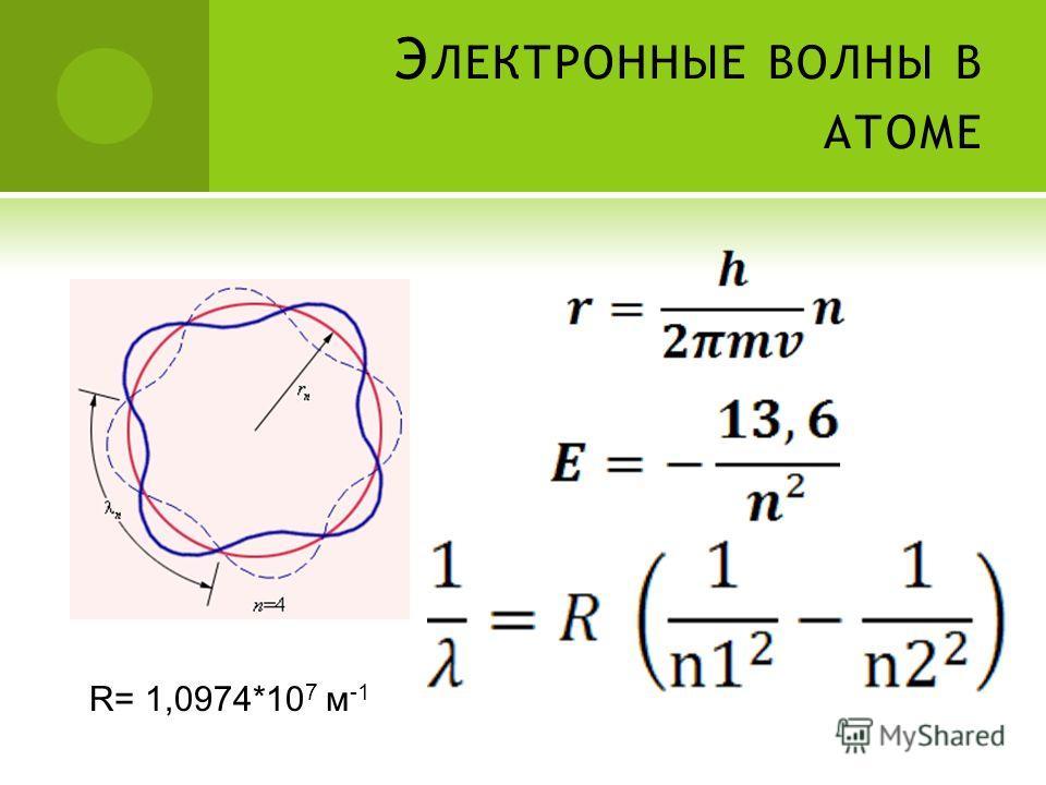 Э ЛЕКТРОННЫЕ ВОЛНЫ В АТОМЕ R= 1,0974*10 7 м -1