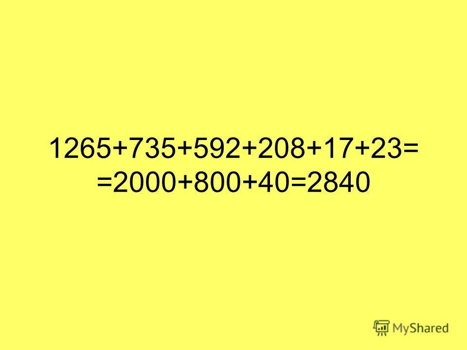 1265+735+592+208+17+23= =2000+800+40=2840