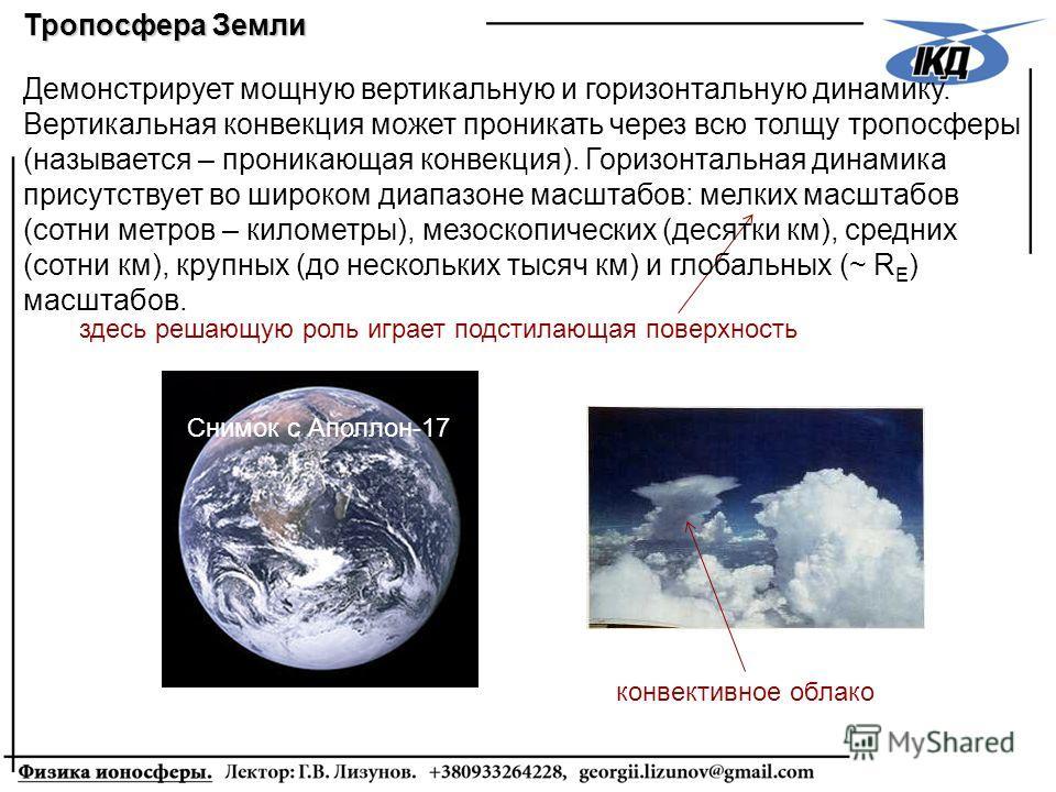 Тропосфера Земли конвективное облако Демонстрирует мощную вертикальную и горизонтальную динамику. Вертикальная конвекция может проникать через всю толщу тропосферы (называется – проникающая конвекция). Горизонтальная динамика присутствует во широком