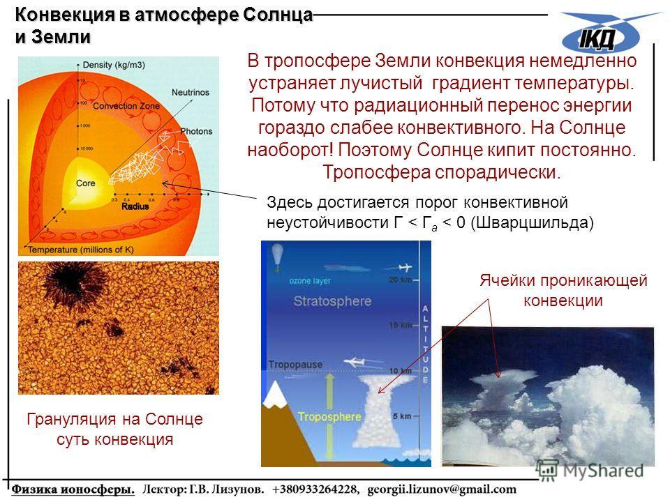 Конвекция в атмосфере Солнца и Земли В тропосфере Земли конвекция немедленно устраняет лучистый градиент температуры. Потому что радиационный перенос энергии гораздо слабее конвективного. На Солнце наоборот! Поэтому Солнце кипит постоянно. Тропосфера