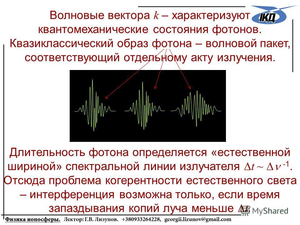Волновые вектора k – характеризуют квантомеханические состояния фотонов. Квазиклассический образ фотона – волновой пакет, соответствующий отдельному акту излучения. Длительность фотона определяется «естественной шириной» спектральной линии излучателя