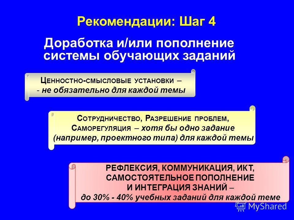 Рекомендации: Шаг 4 Доработка и/или пополнение системы обучающих заданий Ц ЕННОСТНО - СМЫСЛОВЫЕ УСТАНОВКИ – - не обязательно для каждой темы РЕФЛЕКСИЯ, КОММУНИКАЦИЯ, ИКТ, САМОСТОЯТЕЛЬНОЕ ПОПОЛНЕНИЕ И ИНТЕГРАЦИЯ ЗНАНИЙ – до 30% - 40% учебных заданий д