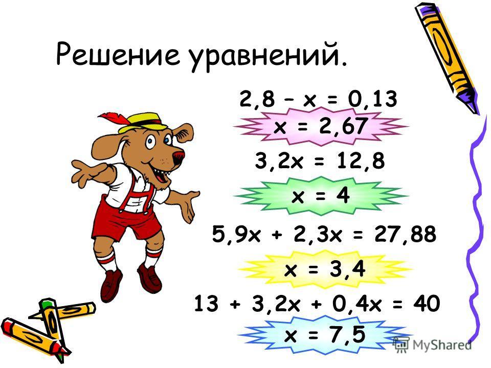 Решение уравнений. 2,8 – х = 0,13 3,2х = 12,8 х = 2,67 5,9х + 2,3х = 27,88 х = 4 х = 3,4 13 + 3,2х + 0,4х = 40 х = 7,5