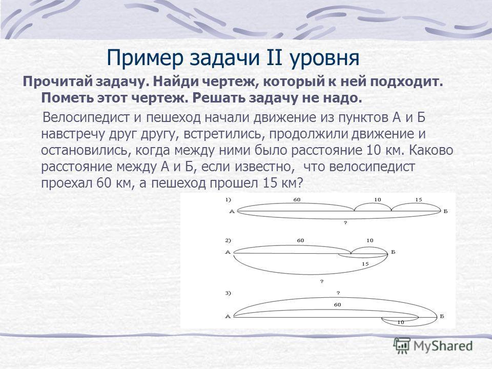 Пример задачи II уровня Прочитай задачу. Найди чертеж, который к ней подходит. Пометь этот чертеж. Решать задачу не надо. Велосипедист и пешеход начали движение из пунктов А и Б навстречу друг другу, встретились, продолжили движение и остановились, к