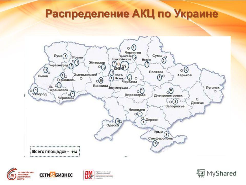 Распределение АКЦ по Украине
