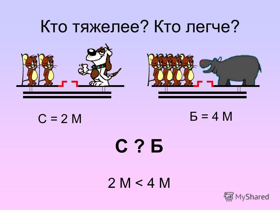 Кто тяжелее? Кто легче? С = 2 М Б = 4 М 2 М < 4 М С ? Б