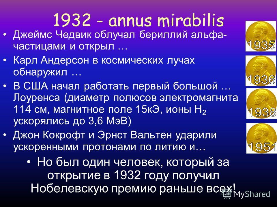 1932 - annus mirabilis Год чудес в ядерной физике
