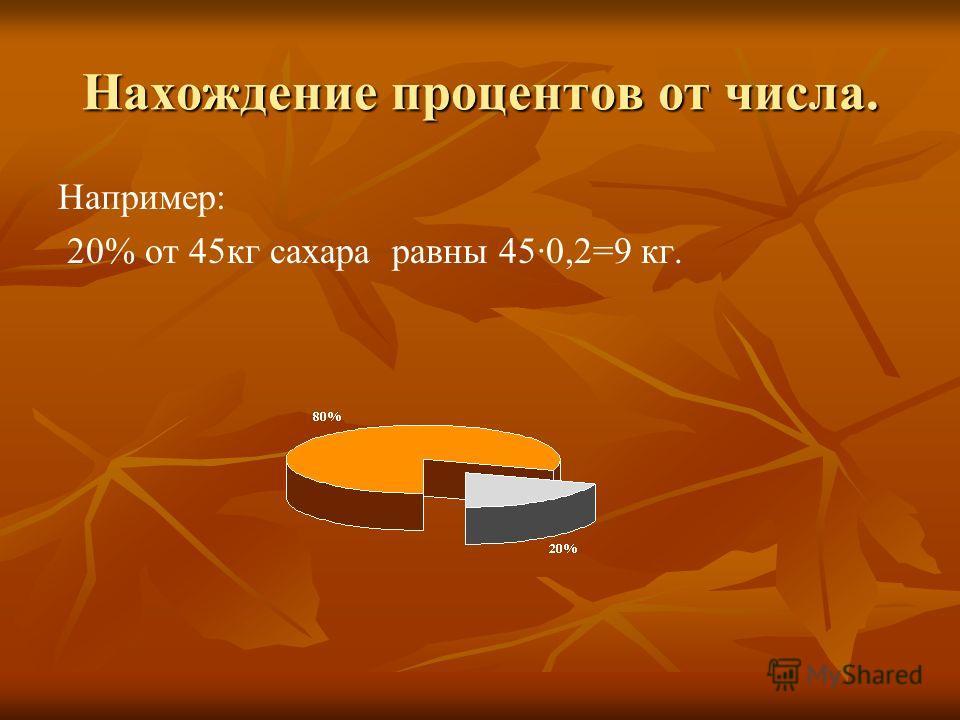 Нахождение процентов от числа. Например: 20% от 45кг сахара равны 45·0,2=9 кг.