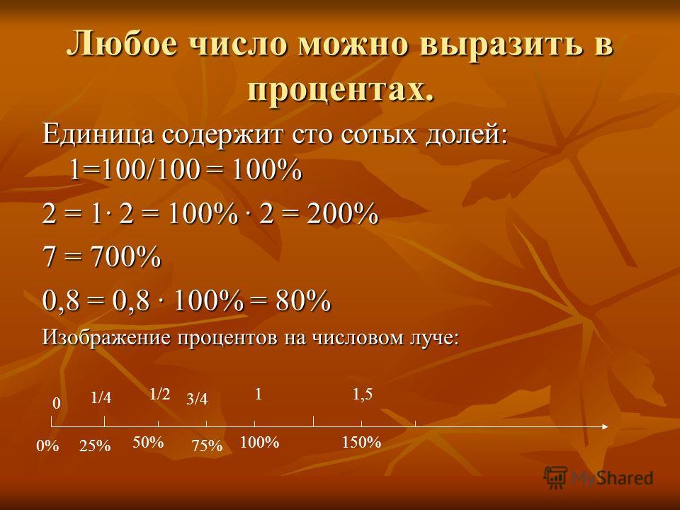 Любое число можно выразить в процентах. Единица содержит сто сотых долей: 1=100/100 = 100% 2 = 1 2 = 100% 2 = 200% 7 = 700% 0,8 = 0,8 100% = 80% Изображение процентов на числовом луче: 0 1/4 1/2 3/4 11,5 0%25% 50% 75% 100%150%