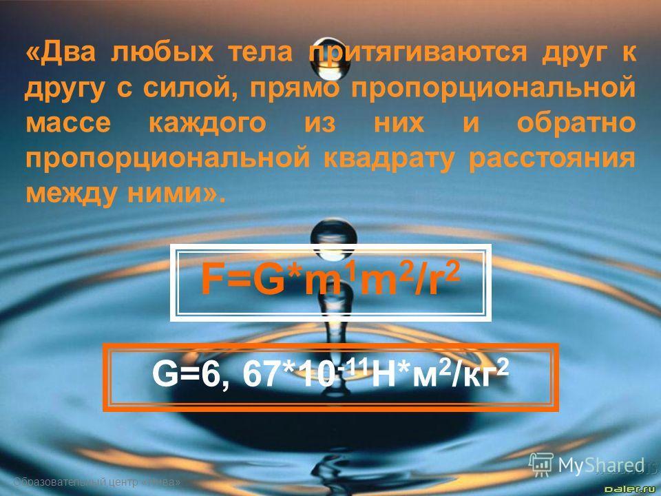 Образовательный центр «Нива» «Два любых тела притягиваются друг к другу с силой, прямо пропорциональной массе каждого из них и обратно пропорциональной квадрату расстояния между ними». F=G*m 1 m 2 /r 2 G=6, 67*10 -11 H*м 2 /кг 2