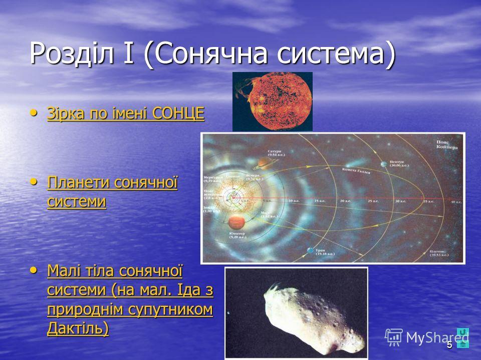 5 Розділ І (Сонячна система) Зірка по імені СОНЦЕ Зірка по імені СОНЦЕ Зірка по імені СОНЦЕ Зірка по імені СОНЦЕ Планети сонячної системи Планети сонячної системи Планети сонячної системи Планети сонячної системи Малі тіла сонячної системи (на мал. І