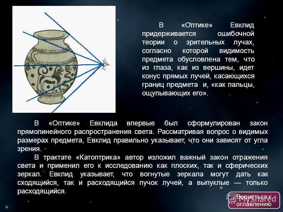 В «Оптике» Евклид придерживается ошибочной теории о зрительных лучах, согласно которой видимость предмета обусловлена тем, что из глаза, как из вершины, идет конус прямых лучей, касающихся границ предмета и, «как пальцы, ощупывающих его». В «Оптике»