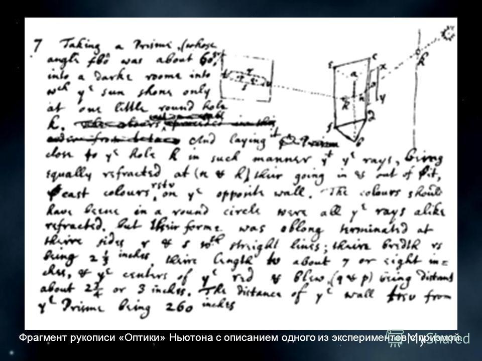 Фрагмент рукописи «Оптики» Ньютона с описанием одного из экспериментов с призмой.
