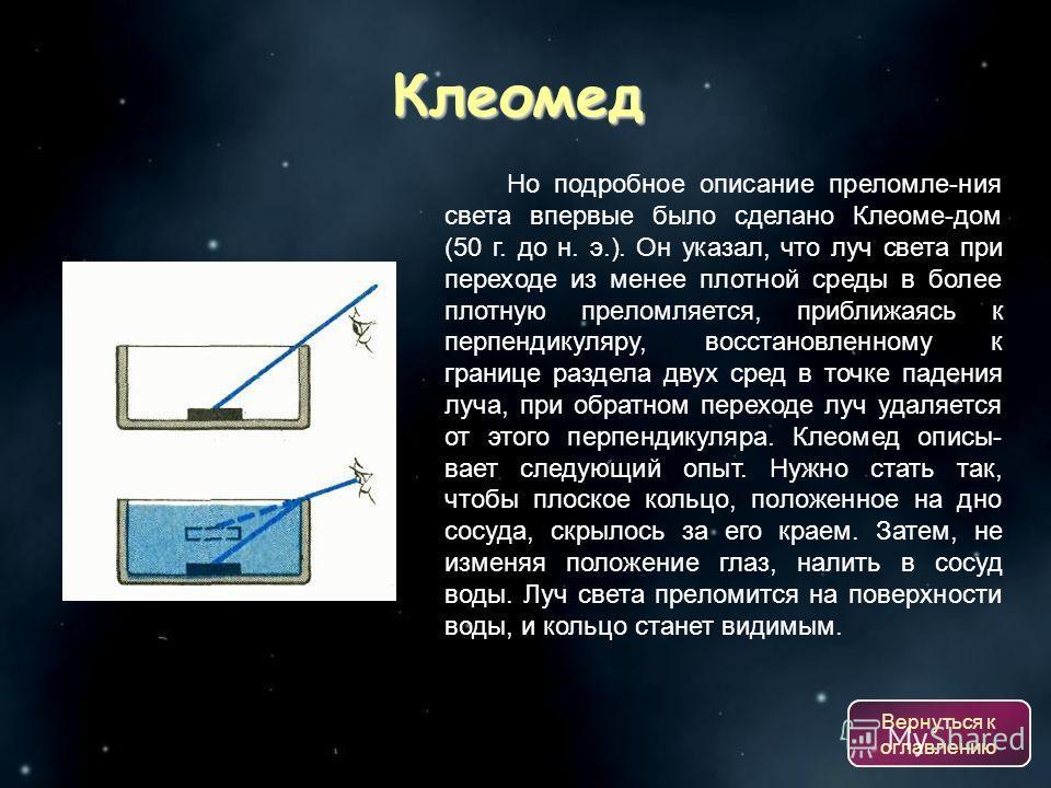 Клеомед Но подробное описание преломле-ния света впервые было сделано Клеоме-дом (50 г. до н. э.). Он указал, что луч света при переходе из менее плотной среды в более плотную преломляется, приближаясь к перпендикуляру, восстановленному к границе раз