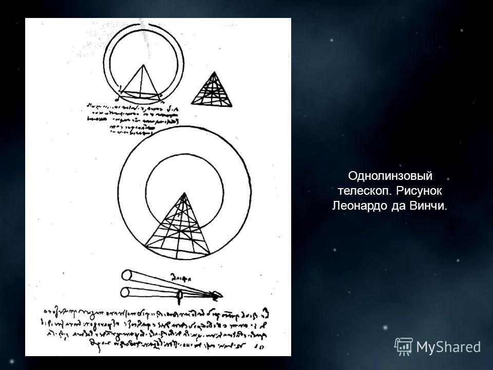 Однолинзовый телескоп. Рисунок Леонардо да Винчи.