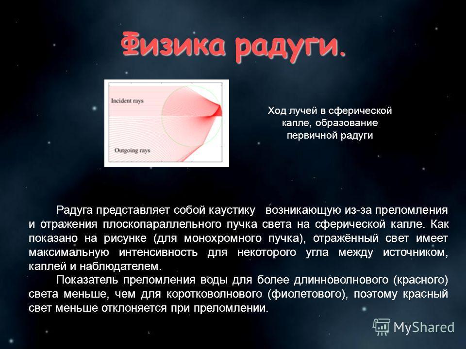 Физика радуги. Ход лучей в сферической капле, образование первичной радуги Радуга представляет собой каустику возникающую из-за преломления и отражения плоскопараллельного пучка света на сферической капле. Как показано на рисунке (для монохромного пу