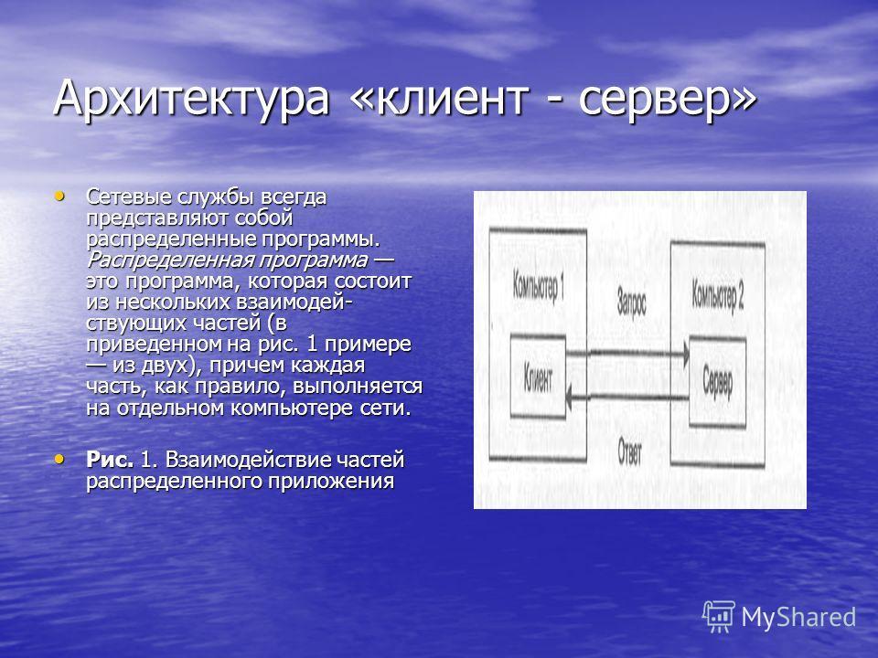 Архитектура «клиент - сервер» Сетевые службы всегда представляют собой распределенные программы. Распределенная программа это программа, которая состоит из нескольких взаимодей ствующих частей (в приведенном на рис. 1 примере из двух), причем кажда