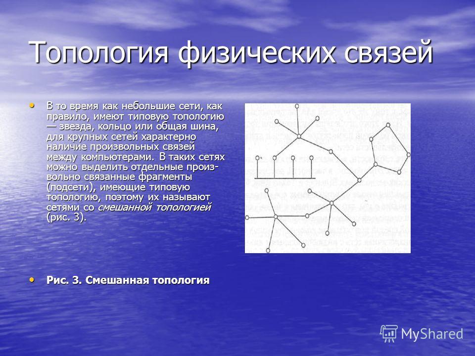 Топология физических связей В то время как небольшие сети, как правило, имеют типовую топологию звезда, кольцо или общая шина, для крупных сетей характерно наличие произвольных связей между компьютерами. В таких сетях можно выделить отдельные произ