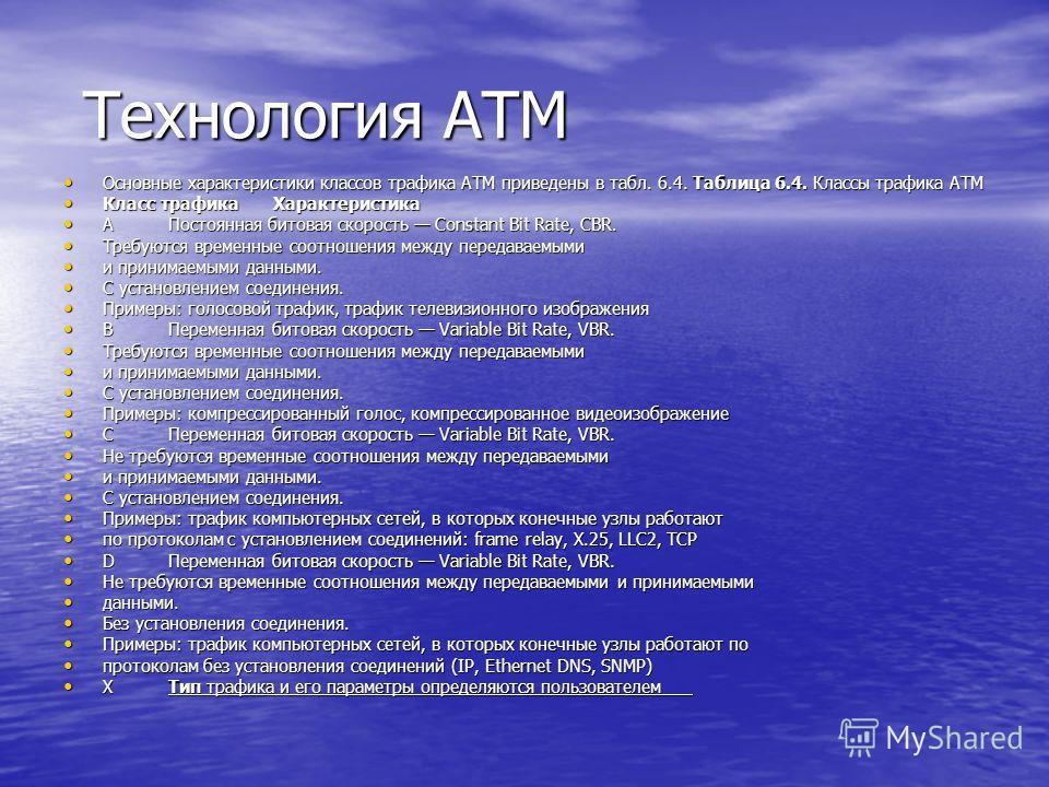 Технология ATM Технология ATM Основные характеристики классов трафика ATM приведены в табл. 6.4. Таблица 6.4. Классы трафика ATM Основные характеристики классов трафика ATM приведены в табл. 6.4. Таблица 6.4. Классы трафика ATM Класс трафикаХарактери