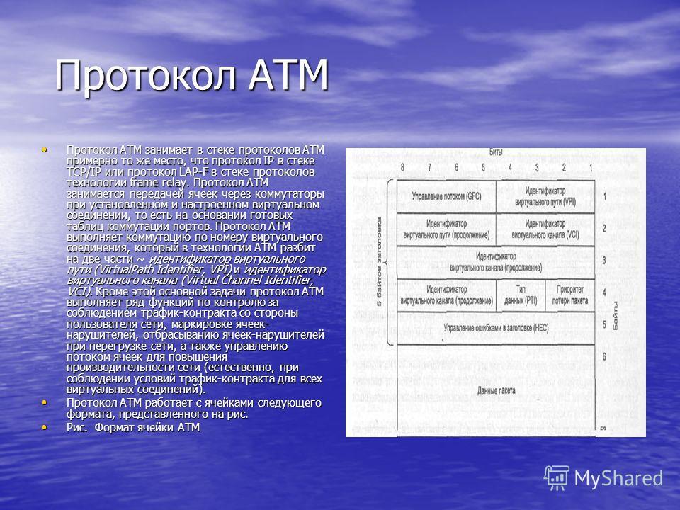 Протокол ATM Протокол ATM Протокол ATM занимает в стеке протоколов ATM примерно то же место, что протокол IP в стеке TCP/IP или протокол LAP-F в стеке протоколов технологии frame relay. Протокол ATM занимается передачей ячеек через коммутаторы при у