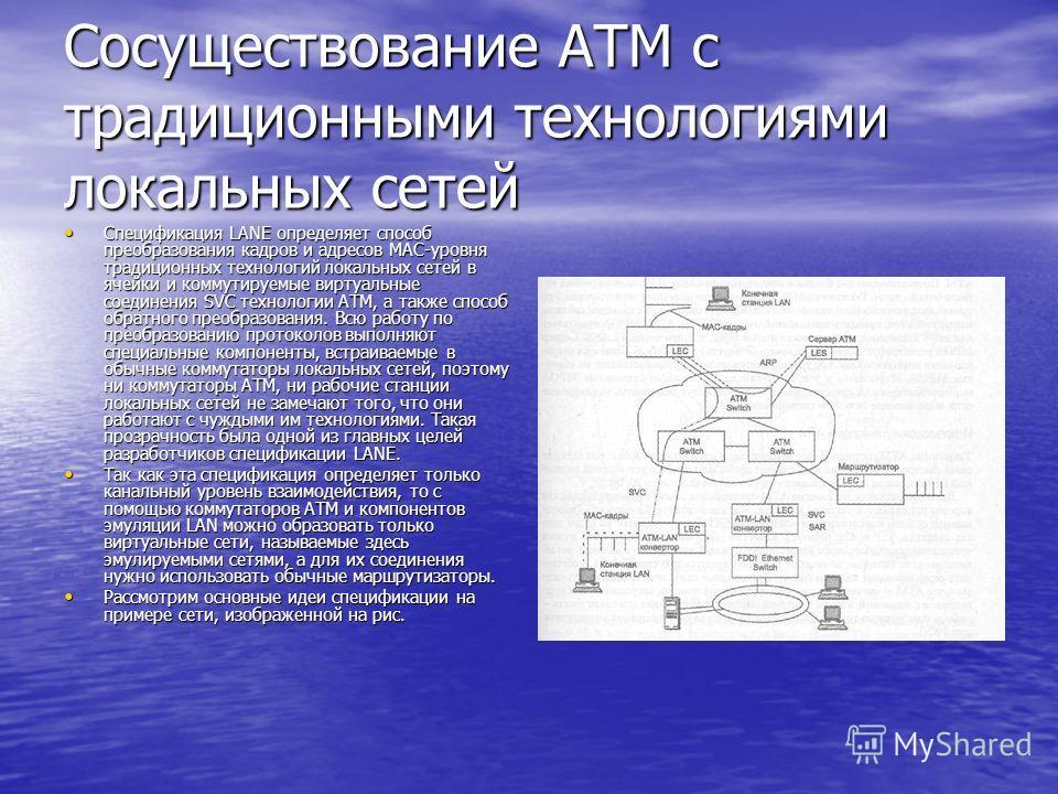 Сосуществование ATM с традиционными технологиями локальных сетей Спецификация LANE определяет способ преобразования кадров и адресов МАС-уровня традиционных технологий локальных сетей в ячейки и коммутируемые виртуальные соединения SVC технологии ATM