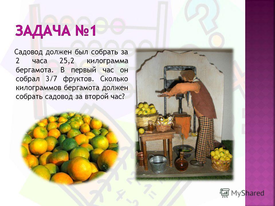 Садовод должен был собрать за 2 часа 25,2 килограмма бергамота. В первый час он собрал 3/7 фруктов. Сколько килограммов бергамота должен собрать садовод за второй час?