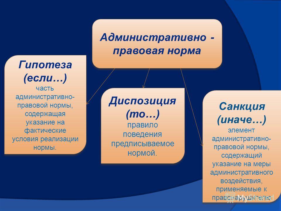 Административно - правовая норма Гипотеза (если…) часть административно- правовой нормы, содержащая указание на фактические условия реализации нормы. Гипотеза (если…) часть административно- правовой нормы, содержащая указание на фактические условия р