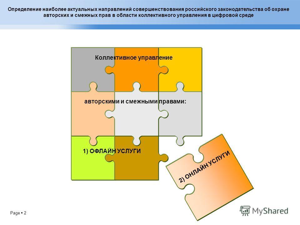Page 2 Определение наиболее актуальных направлений совершенствования российского законодательства об охране авторских и смежных прав в области коллективного управления в цифровой среде Коллективное управление авторскими и смежными правами: 1) ОФЛАЙН