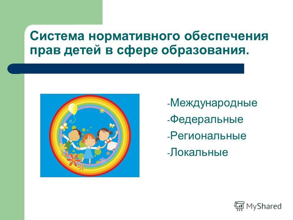 Система нормативного обеспечения прав детей в сфере образования. - Международные - Федеральные - Региональные - Локальные