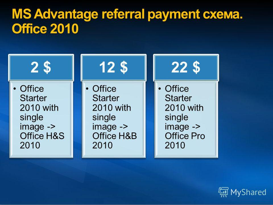 MS Advantage referral payment схема. Office 2010 2 $ Office Starter 2010 with single image -> Office H&S 2010 12 $ Office Starter 2010 with single image -> Office H&B 2010 22 $ Office Starter 2010 with single image -> Office Pro 2010
