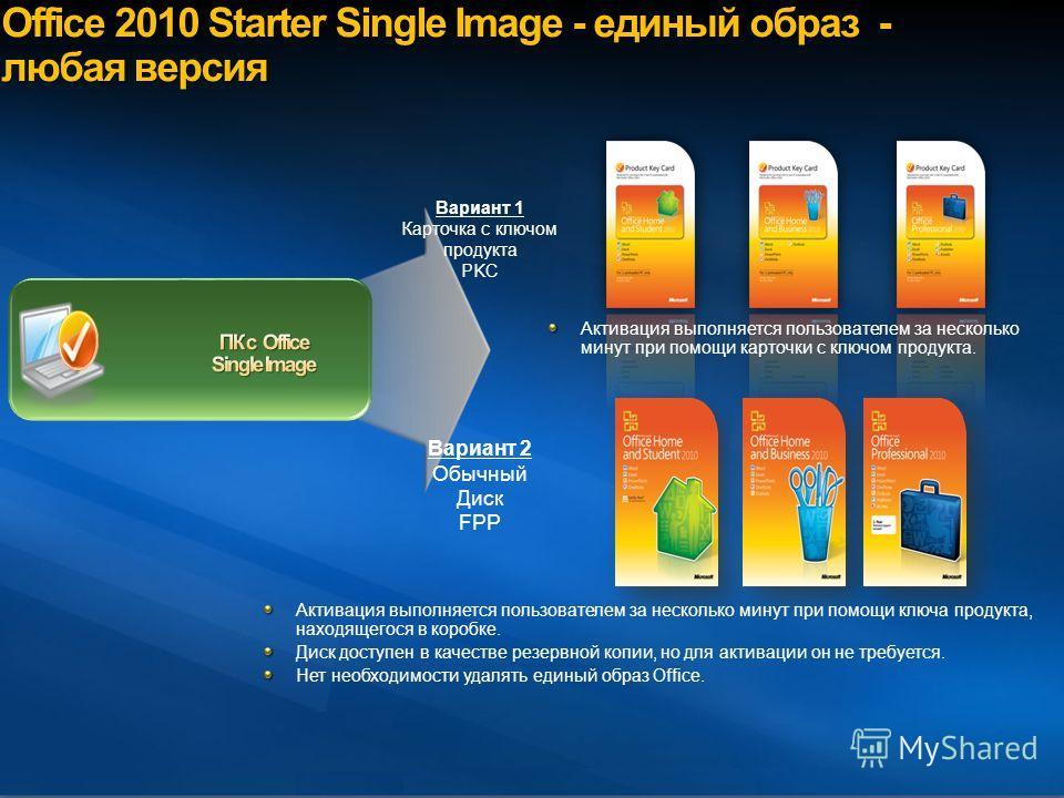 Microsoft Confidential, Do not share outside Microsoft Office 2010 Starter Single Image - единый образ - любая версия Активация выполняется пользователем за несколько минут при помощи ключа продукта, находящегося в коробке. Диск доступен в качестве р