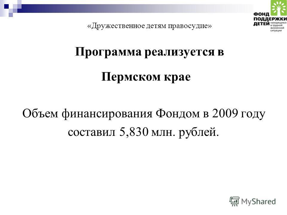 «Дружественное детям правосудие» Программа реализуется в Пермском крае Объем финансирования Фондом в 2009 году составил 5,830 млн. рублей.