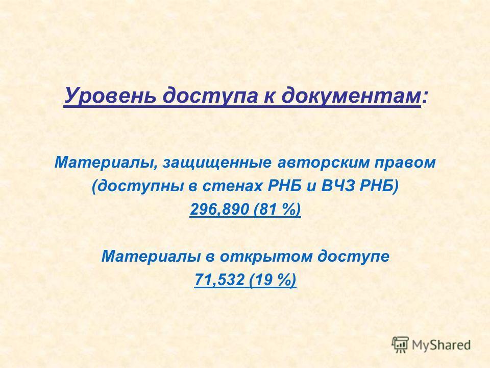Уровень доступа к документам: Материалы, защищенные авторским правом (доступны в стенах РНБ и ВЧЗ РНБ) 296,890 (81 %) Материалы в открытом доступе 71,532 (19 %)