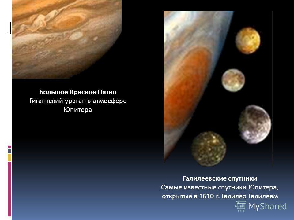 Большое Красное Пятно Гигантский ураган в атмосфере Юпитера Галилеевские спутники Самые известные спутники Юпитера, открытые в 1610 г. Галилео Галилеем