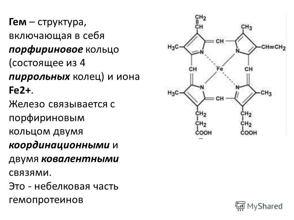 Гем – структура, включающая в себя порфириновое кольцо (состоящее из 4 пиррольных колец) и иона Fe2+. Железо связывается с порфириновым кольцом двумя координационными и двумя ковалентными связями. Это - небелковая часть гемопротеинов