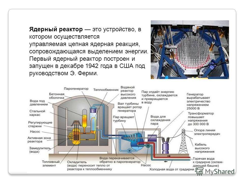 Ядерный реактор это устройство, в котором осуществляется управляемая цепная ядерная реакция, сопровождающаяся выделением энергии. Первый ядерный реактор построен и запущен в декабре 1942 года в США под руководством Э. Ферми.