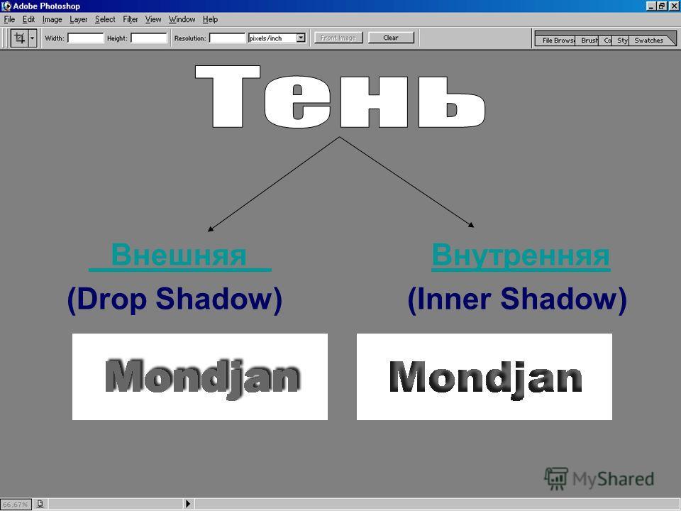Внешняя Внутренняя Внешняя Внутренняя (Drop Shadow) (Inner Shadow)