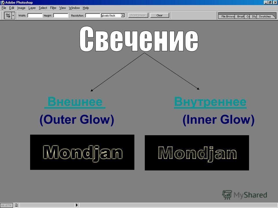 Внешнее Внутреннее Внешнее Внутреннее (Outer Glow) (Inner Glow)