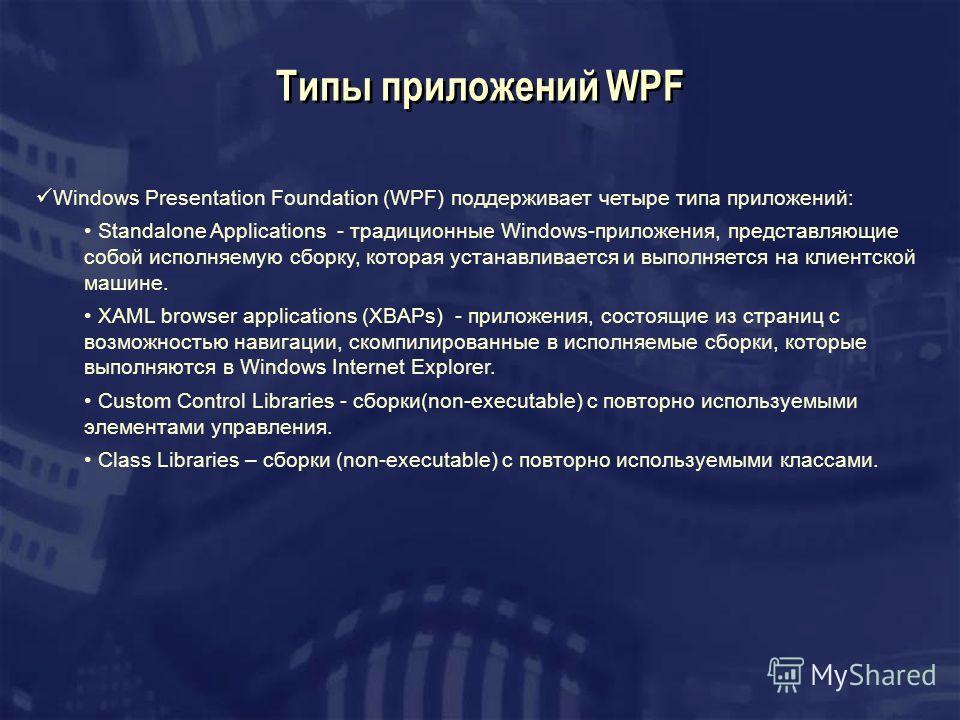 Типы приложений WPF Windows Presentation Foundation (WPF) поддерживает четыре типа приложений: Standalone Applications - традиционные Windows-приложения, представляющие собой исполняемую сборку, которая устанавливается и выполняется на клиентской маш