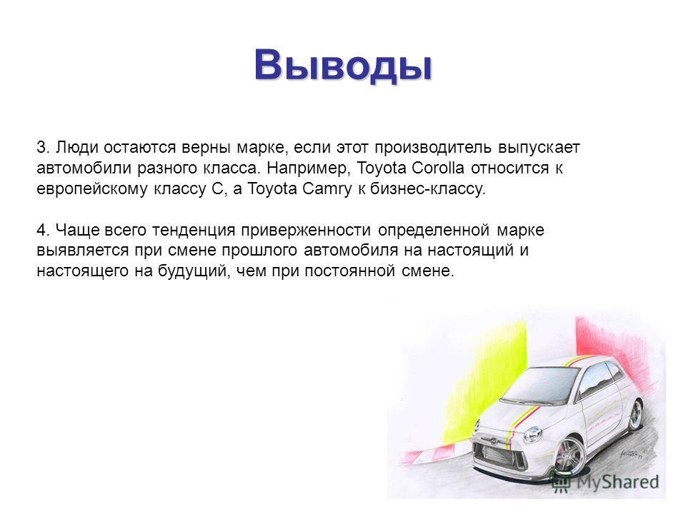 Выводы 3. Люди остаются верны марке, если этот производитель выпускает автомобили разного класса. Например, Toyota Corolla относится к европейскому классу С, а Toyota Camry к бизнес-классу. 4. Чаще всего тенденция приверженности определенной марке вы