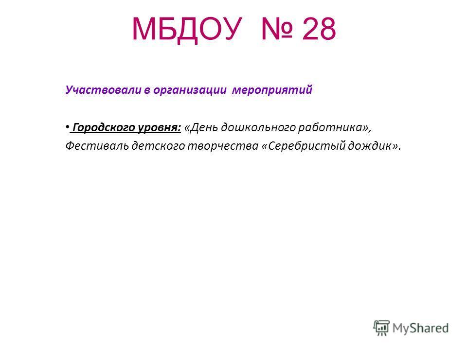 МБДОУ 28 Участвовали в организации мероприятий Городского уровня: «День дошкольного работника», Фестиваль детского творчества «Серебристый дождик».