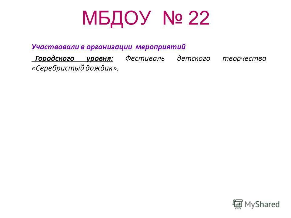 МБДОУ 22 Участвовали в организации мероприятий Городского уровня: Фестиваль детского творчества «Серебристый дождик».